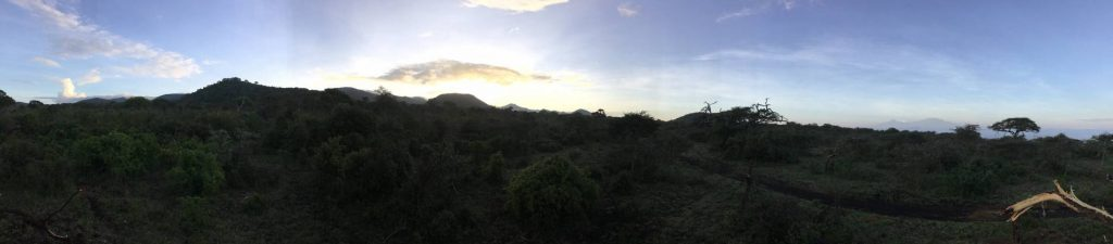 Morning in the Chyulus, with Kilimanjaro to the right